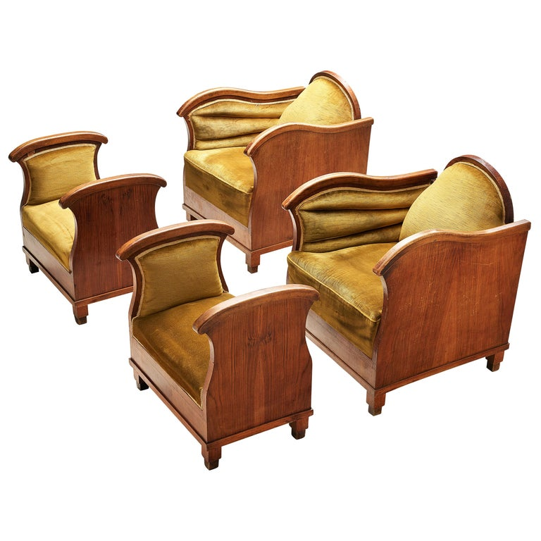 Pair of Art Deco Lounge Chairs in Velvet Upholstery For Sale