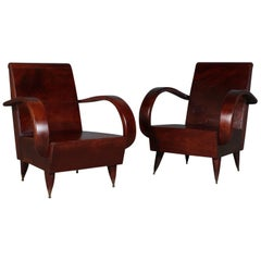 Pair of Art Deco Lounge Chairs, Second Half of the 20th Century