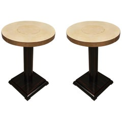 Pair of Art Deco Macassar Goat Skin and Brass Side Tables, 1930
