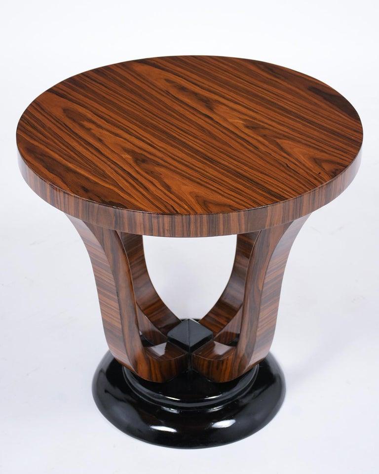Carved Pair of Vintage Art Deco Side Tables For Sale