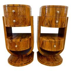Pair of Art Deco Macassar Wood Nightstands End Tables