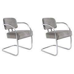 Pair of Art Deco Machine Age Bent Aluminum and Platinum Velvet Occasional Chairs