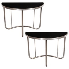 Pair of Art Deco Machine Age Black Enamel and Chrome Demilune Side Tables