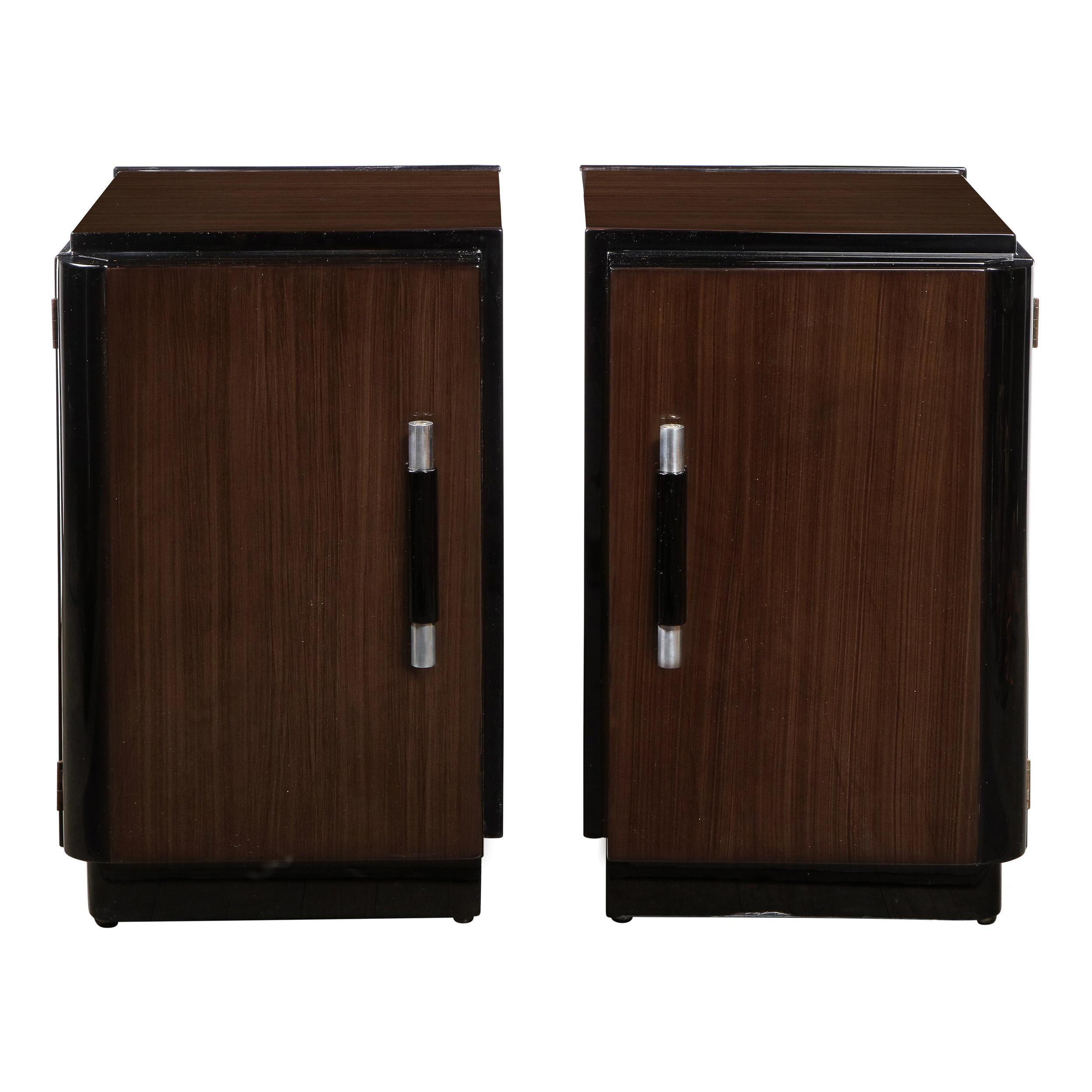 Pair of Art Deco Machine Age Bookmatched Walnut Nightstands w/ Lacquer Details