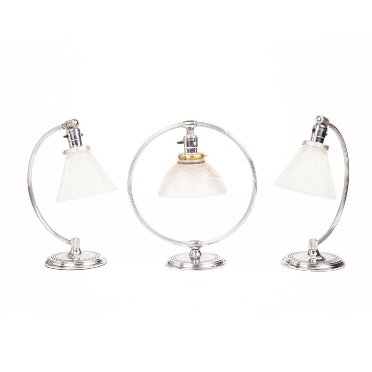 Pair of Art Deco Machine Age Chrome Table Lamps by Chase Brass and Copper 1930s For Sale 3