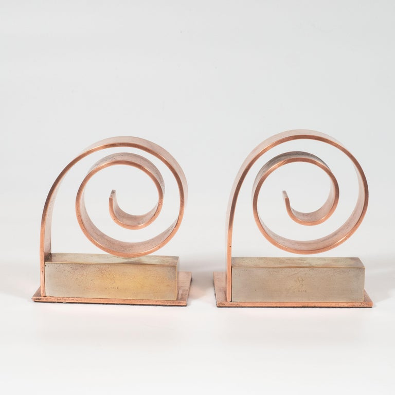 Pair of Art Deco Machine Age Copper Scroll Form Book Ends by Walter Von Nessen For Sale 6