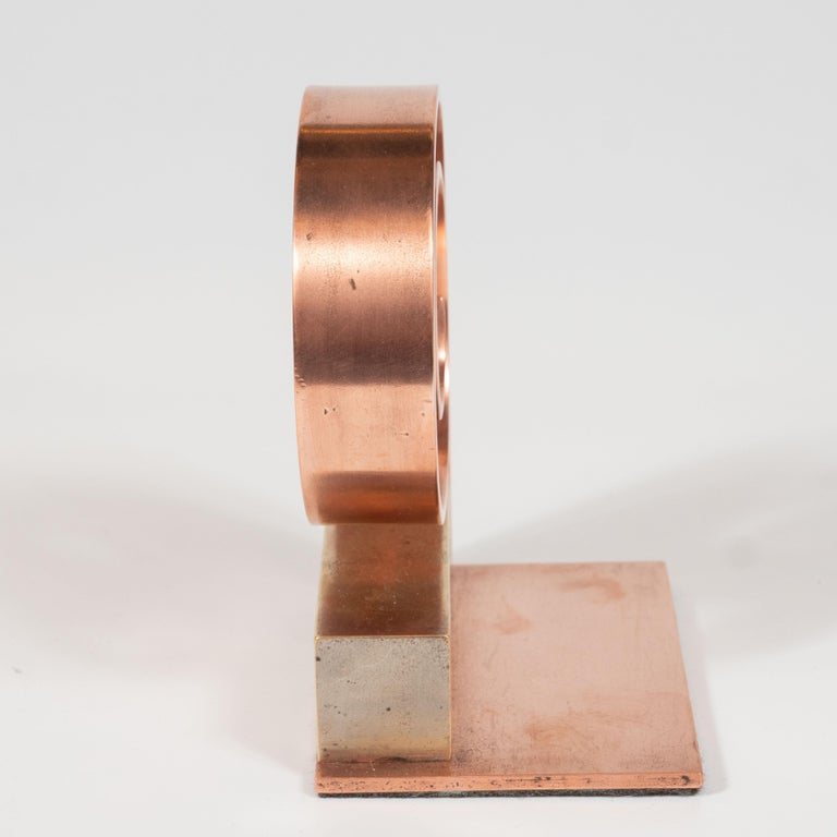 Pair of Art Deco Machine Age Copper Scroll Form Book Ends by Walter Von Nessen For Sale 1