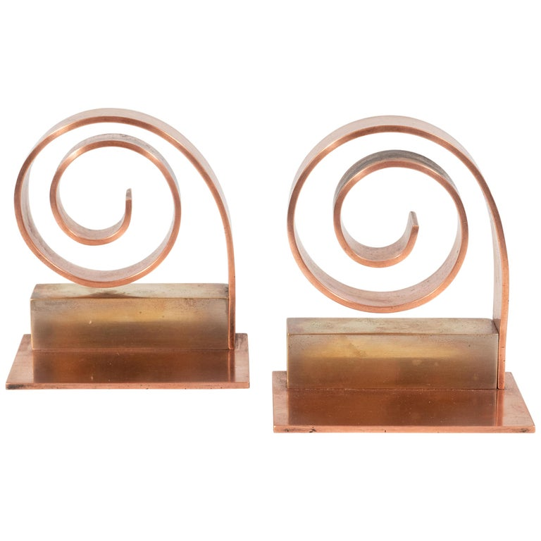 Pair of Art Deco Machine Age Copper Scroll Form Book Ends by Walter Von Nessen For Sale