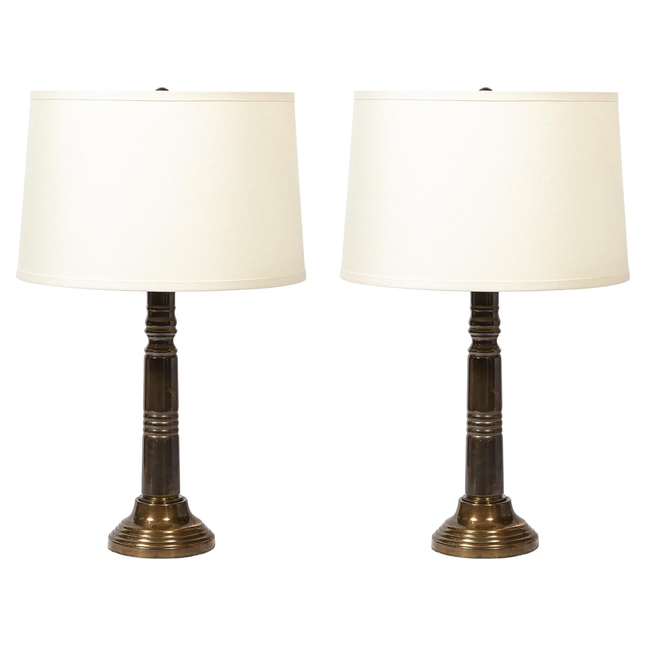 Pair of Art Deco Machine Age Skyscraper Style Banded Antique Brass Table Lamps