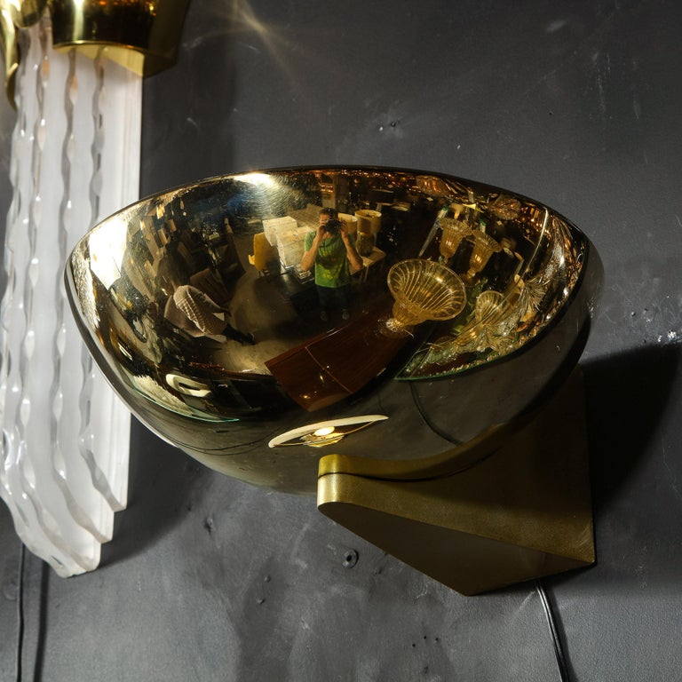 Pair of Art Deco Machine Age Streamlined Brass Sconces Signed by Kurt Versen For Sale 1