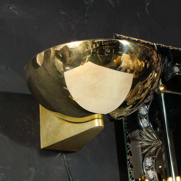 Pair of Art Deco Machine Age Streamlined Brass Sconces Signed by Kurt Versen For Sale 4