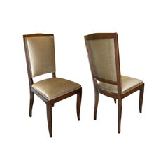 Pair of Art Deco Mahogany and Bronze Colored Scalamandre Silk Side Chairs