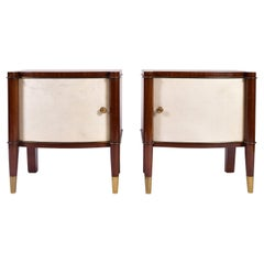Pair of Art Deco Mahogany, Brass and Velum Bedside Tables by de Coenes Frères