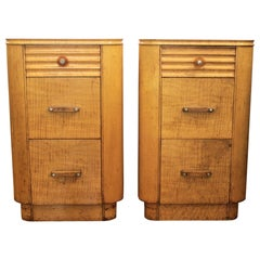 Pair of Art Deco Maple 3 Drawer Nightstands or Cabinets with Machine Age Styling
