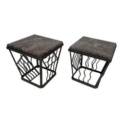 Pair of Art Deco Marble Top Tables in the Style of Oscar Bach