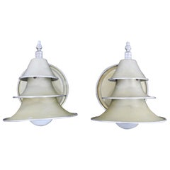 Pair of Art Deco Metal Wall Sconces Light Fixtures