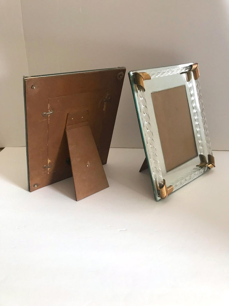 Pair of Art Deco Mirrored Picture Frames with Murano Glass Rope, 1940s 6