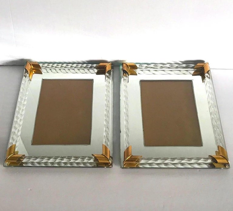 Italian Pair of Art Deco Mirrored Picture Frames with Murano Glass Rope, 1940s
