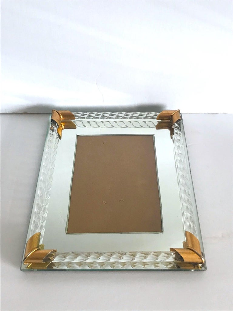 Hand-Crafted Pair of Art Deco Mirrored Picture Frames with Murano Glass Rope, 1940s