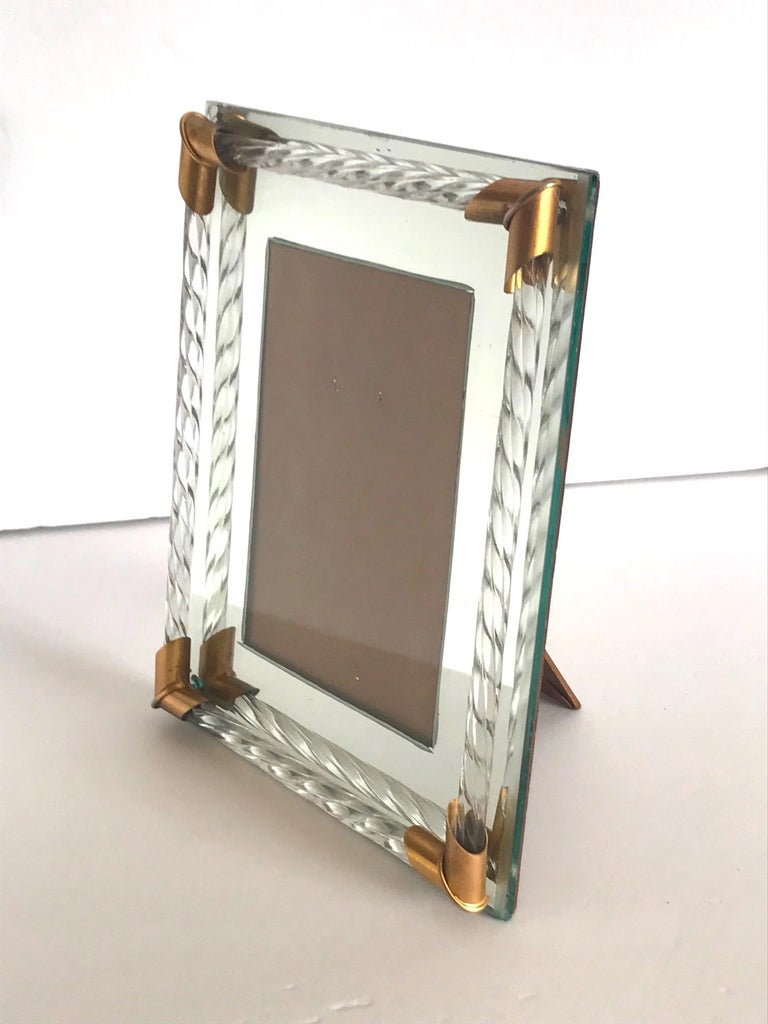 Pair of Art Deco Mirrored Picture Frames with Murano Glass Rope, 1940s In Good Condition In Miami, FL