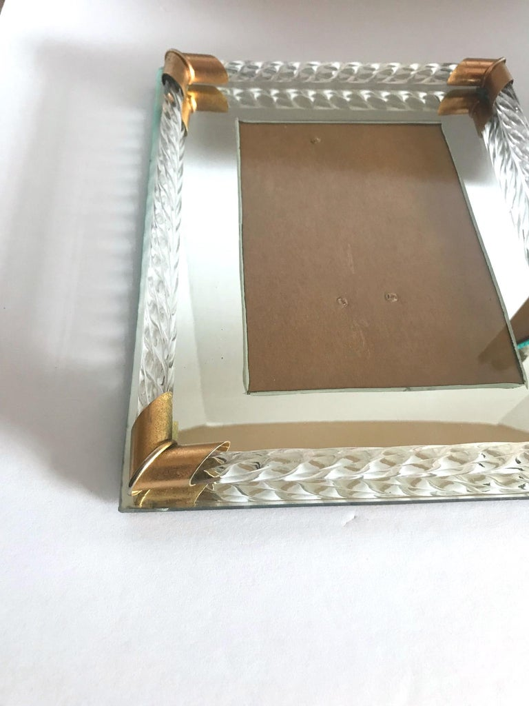 Brass Pair of Art Deco Mirrored Picture Frames with Murano Glass Rope, 1940s