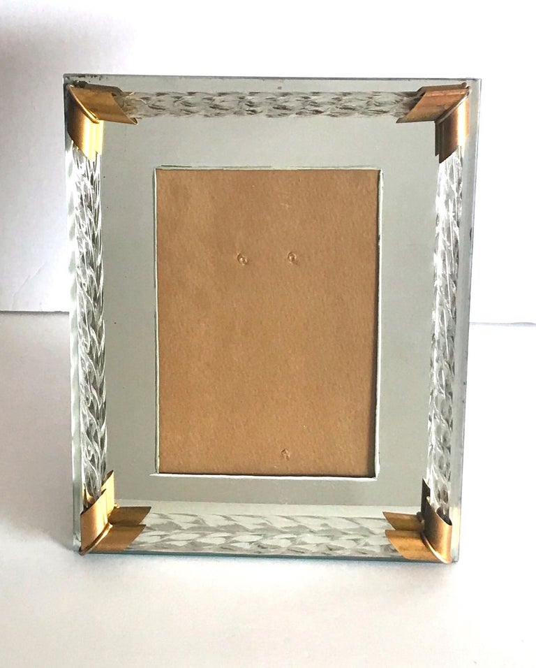 Pair of Art Deco Mirrored Picture Frames with Murano Glass Rope, 1940s 1