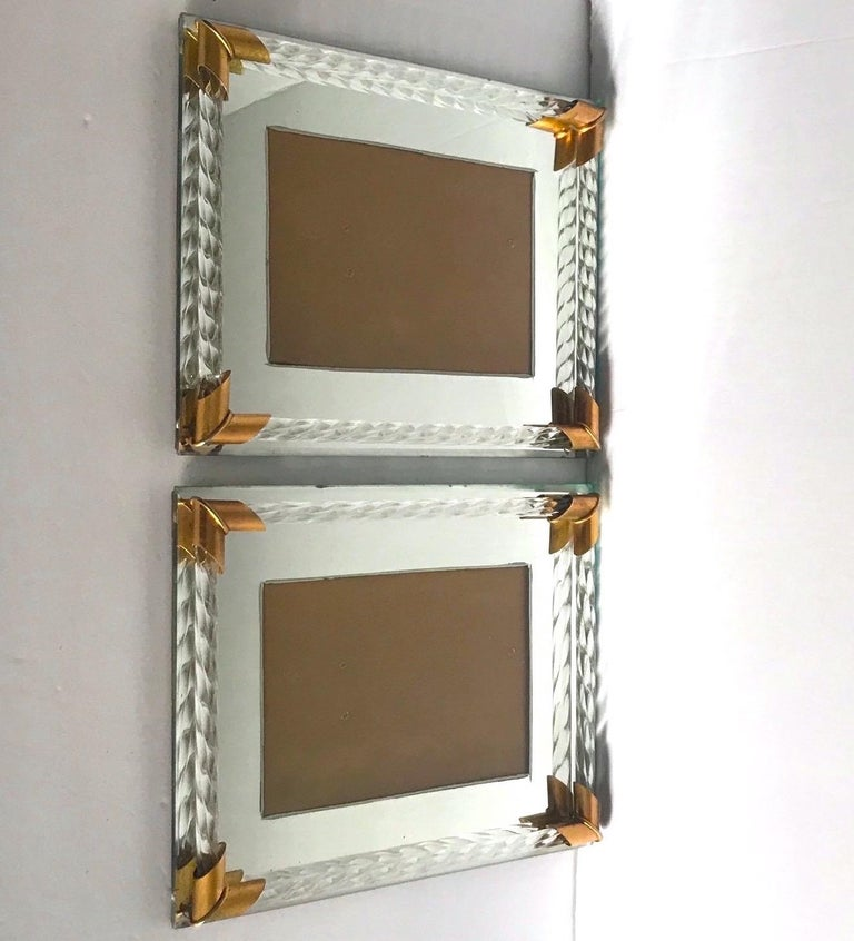 Pair of Art Deco Mirrored Picture Frames with Murano Glass Rope, 1940s 2
