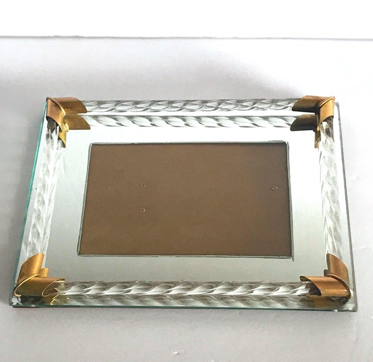 Pair of Art Deco Mirrored Picture Frames with Murano Glass Rope, 1940s 3