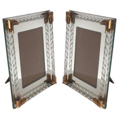 Pair of Art Deco Mirrored Picture Frames with Murano Glass Rope, 1940s