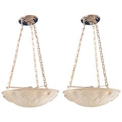 Pair of Art Deco Molded Glass Chandeliers, Plafoniere Form Ceiling Fixtures
