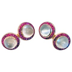 Pair of Art Deco Moonstone and Ruby Cufflinks, circa 1930