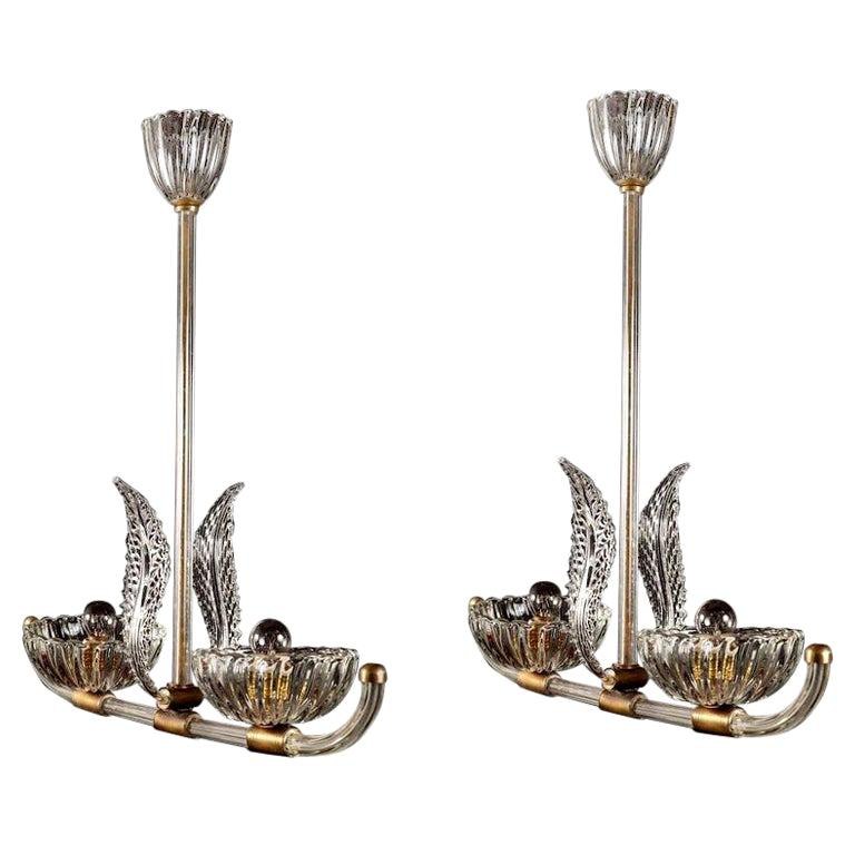 Pair of Art Deco Murano Glass and Brass Pendants or Lanterns by Barovier
