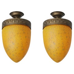 Pair of Art Deco Murano Glass and Bronzed Brass Flush Mounts, Italy, 1950s