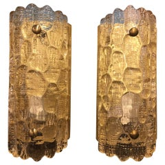 Pair of Art Deco Murano Glass Sconces on Brass Bases, 20th Century