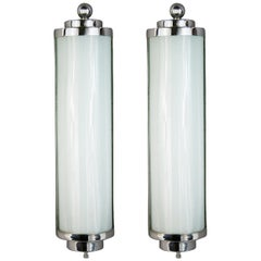 Pair of Art Deco Nickel and Glass Sconces