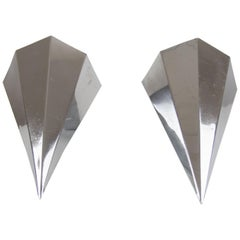 Pair of Art Deco Nickel-Plated Metal Prism Corner Wall Sconces, France, 1920s