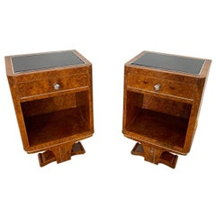 Pair of Art Deco Nightstands, Amboyna Roots Veneer, France, circa 1925
