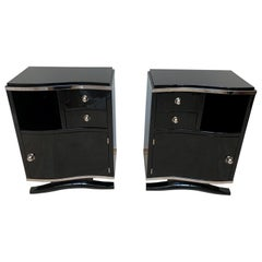 Pair of Art Deco Nightstands, Black Lacquer and Chrome, France, circa 1930