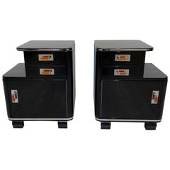 Pair of Art Deco Nightstands, Black Piano Lacquer and Nickel, France, circa 1930