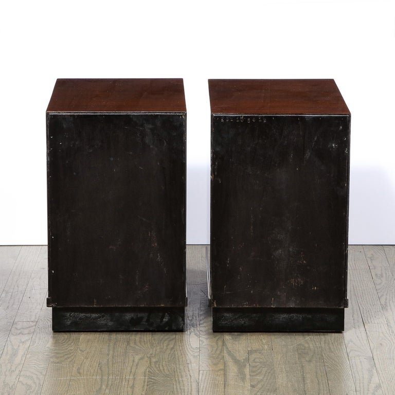 Pair of Art Deco Nightstands in Lacquer & Walnut w/ Streamlined Chrome Pulls For Sale 5