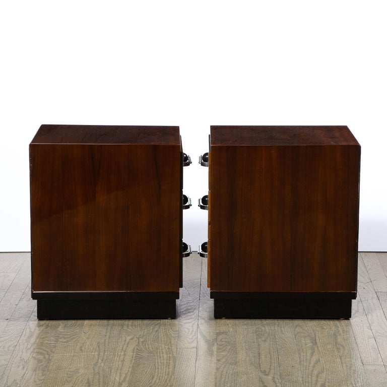 Pair of Art Deco Nightstands in Lacquer & Walnut w/ Streamlined Chrome Pulls For Sale 6