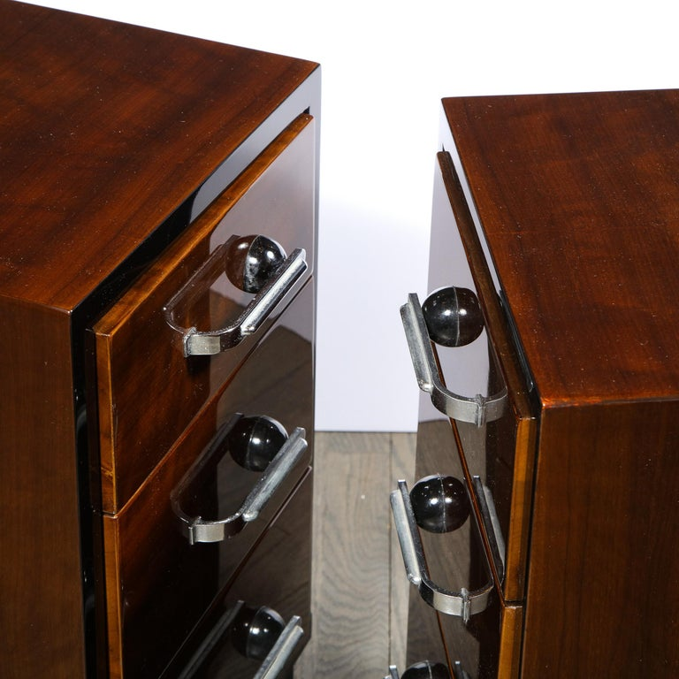 Pair of Art Deco Nightstands in Lacquer & Walnut w/ Streamlined Chrome Pulls For Sale 7
