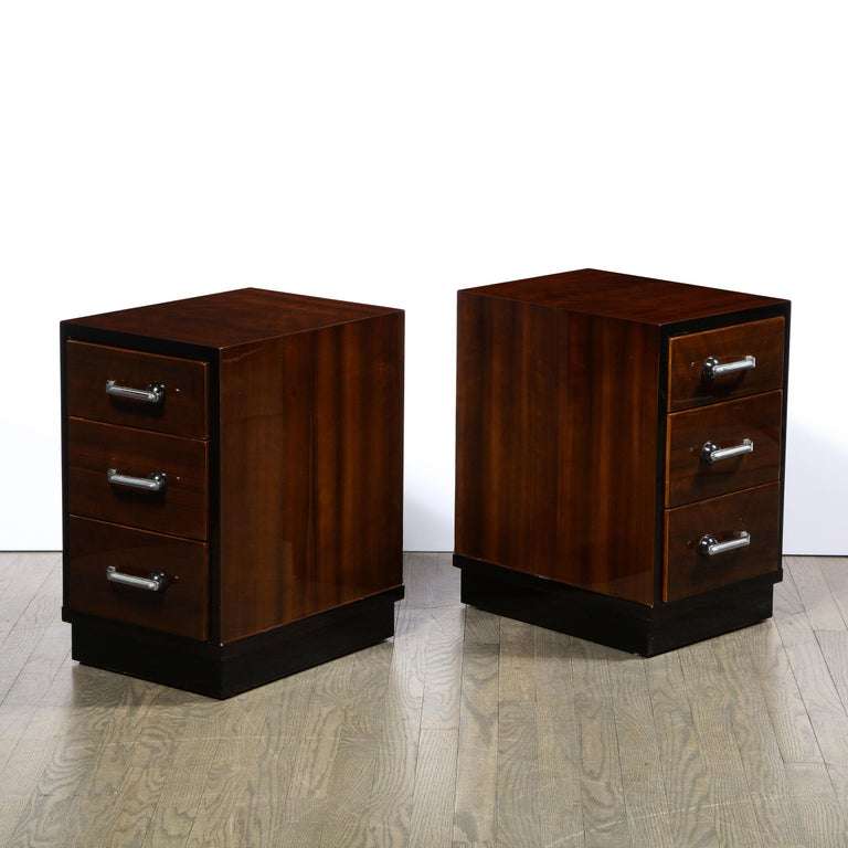 American Pair of Art Deco Nightstands in Lacquer & Walnut w/ Streamlined Chrome Pulls For Sale