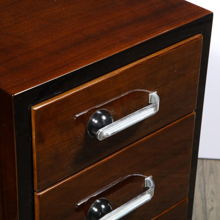 Mid-20th Century Pair of Art Deco Nightstands in Lacquer & Walnut w/ Streamlined Chrome Pulls For Sale