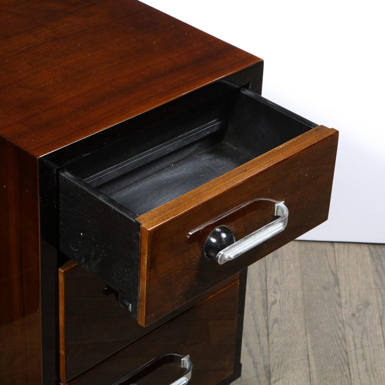 Pair of Art Deco Nightstands in Lacquer & Walnut w/ Streamlined Chrome Pulls For Sale 1