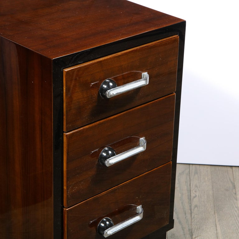 Pair of Art Deco Nightstands in Lacquer & Walnut w/ Streamlined Chrome Pulls For Sale 2