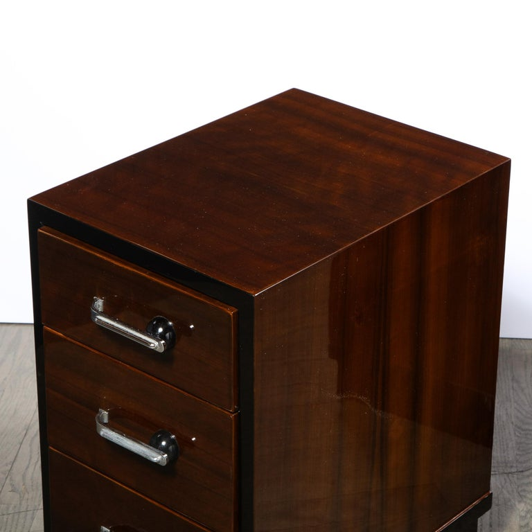 Pair of Art Deco Nightstands in Lacquer & Walnut w/ Streamlined Chrome Pulls For Sale 3