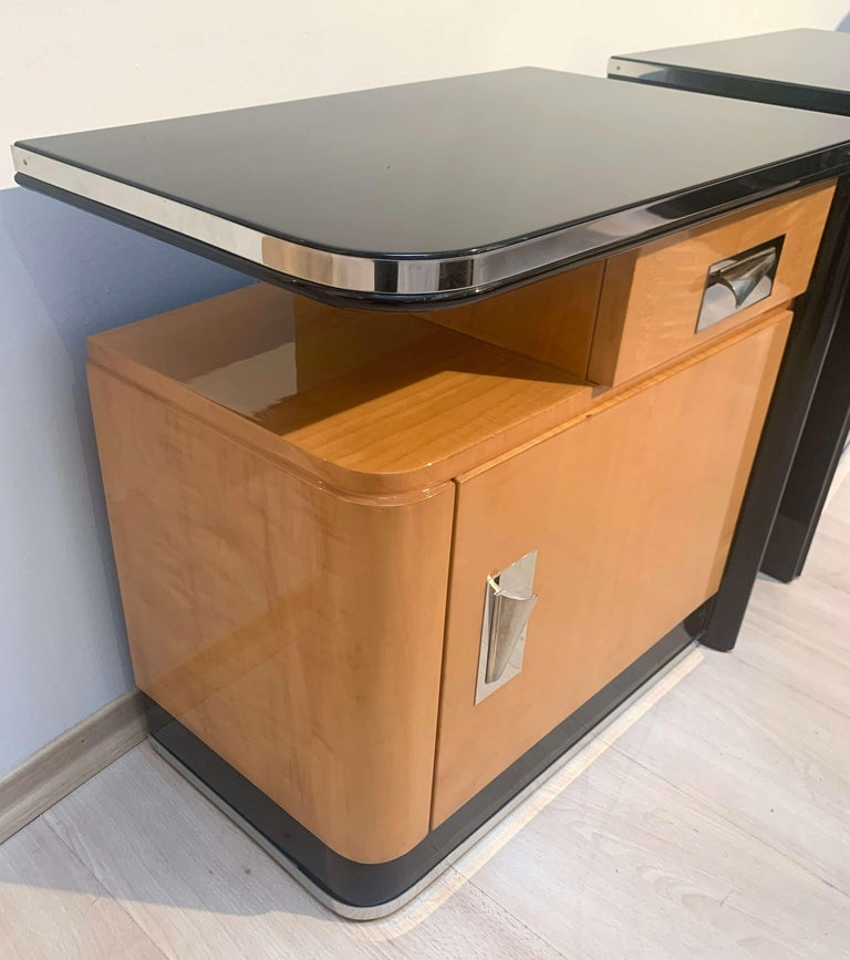 Blackened Pair of Art Deco Nightstands, Maple and Chrome, France, circa 1940 For Sale