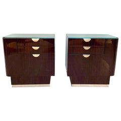 Pair of Bauhaus Nightstands, Rosewood, Maple, France, circa 1930