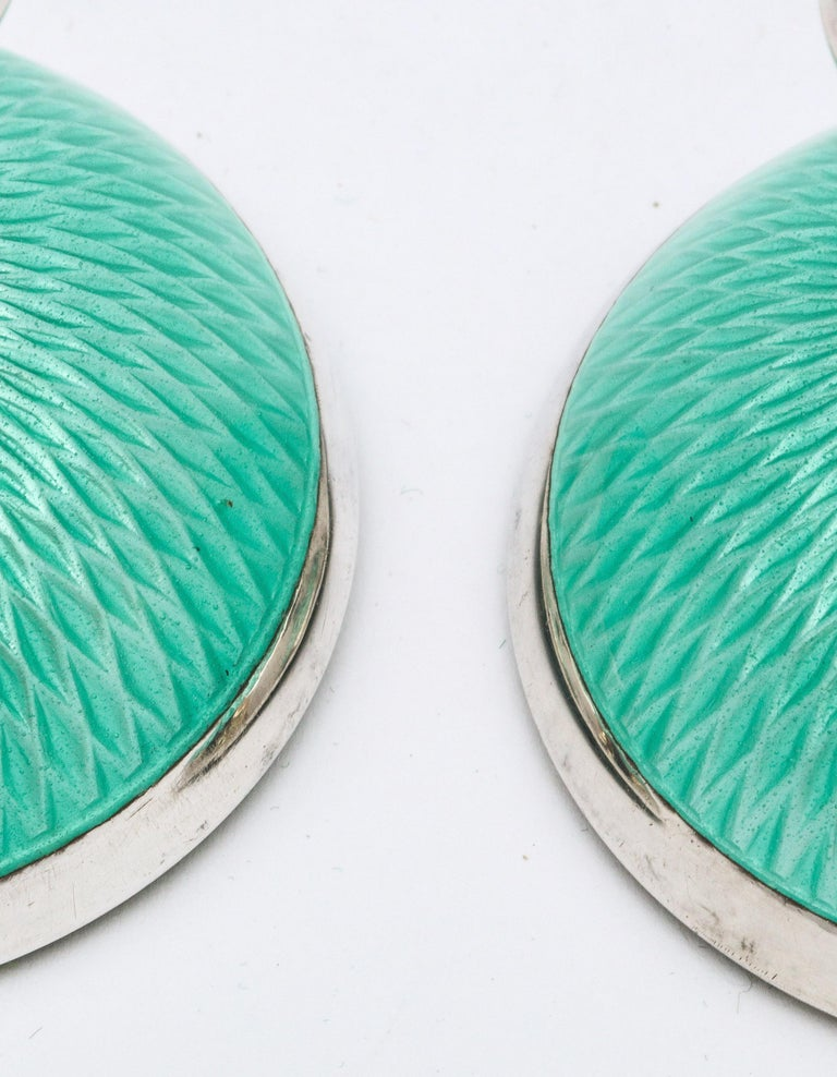 Pair of Art Deco Norwegian Sterling Silver and Turquoise Enamel Candlesticks For Sale 6